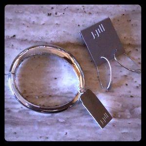 J Jill Sculpted Hinge Bangle and Hoop Earrings